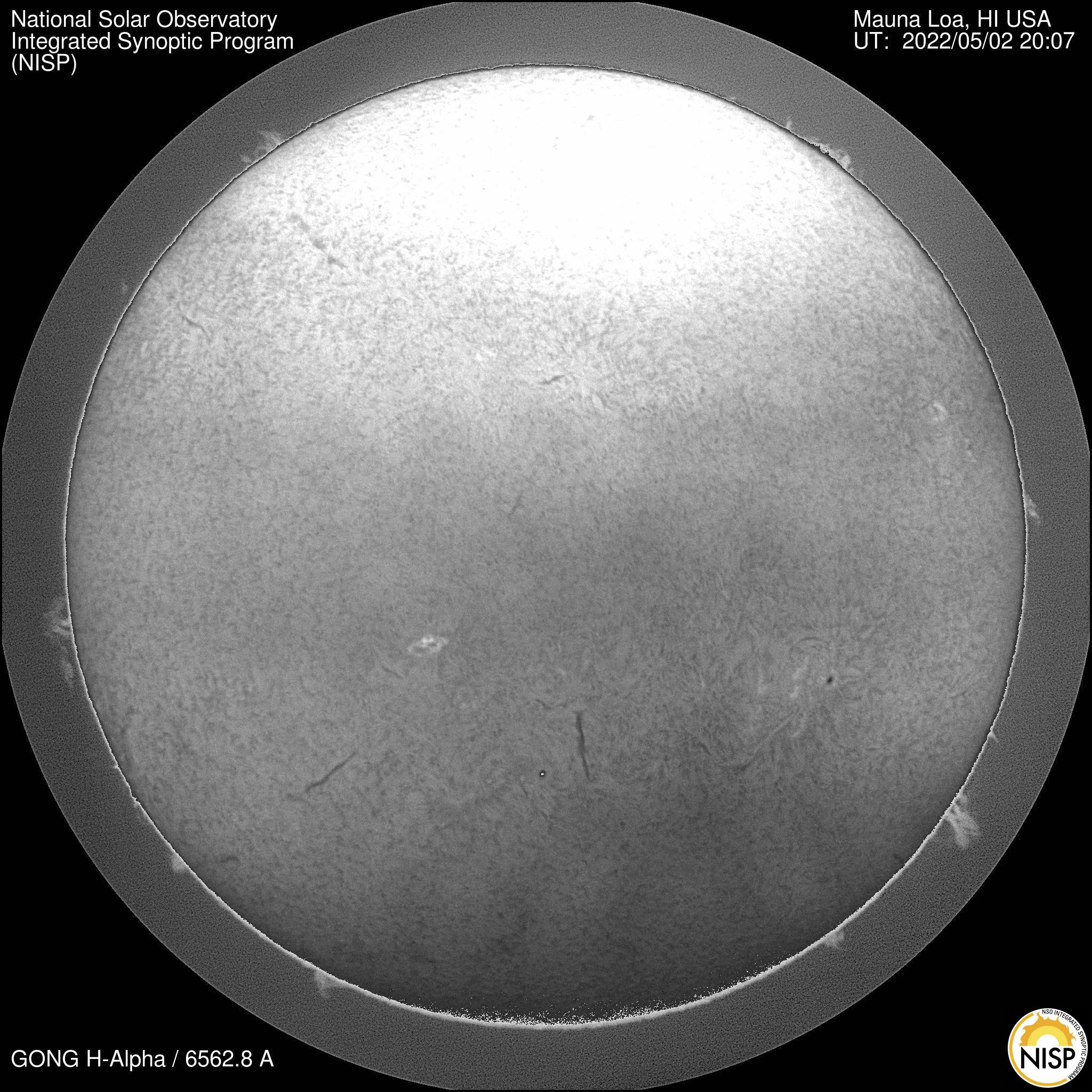 H-Alpha image taken by NSO's GONG instrument at Mauna Loa. Click image for time-lapse movie.